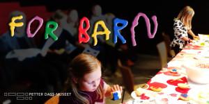 Barnas museum aktivitetsbilde med overskrift og logo